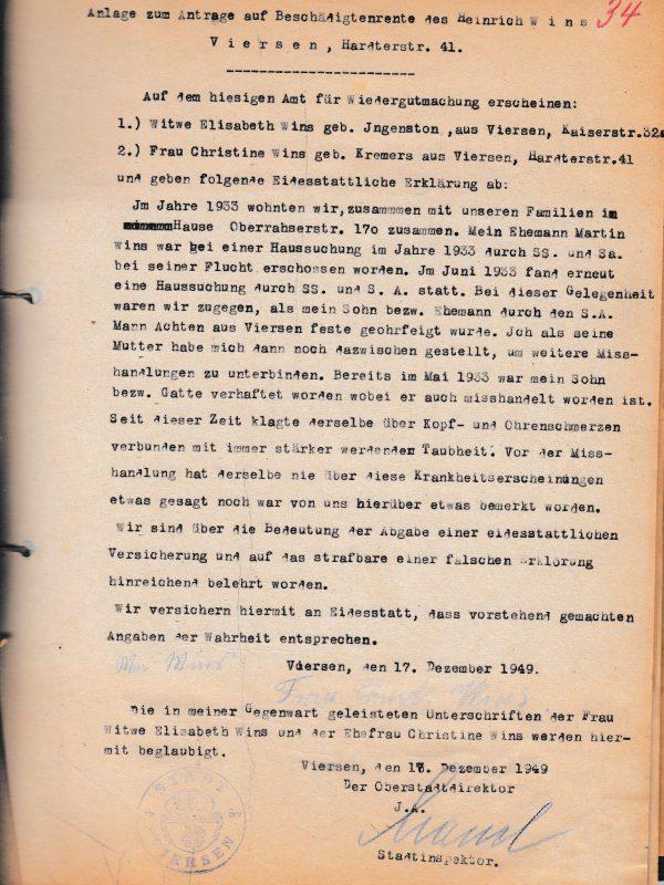 Antrag von Heinrich Wins auf Beschädigtenrente