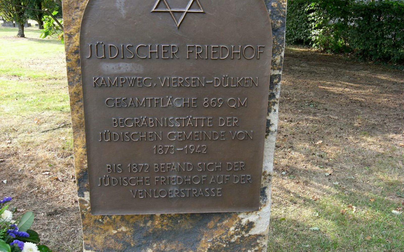 Eingangstafel am Jüdischen Friedhof Dülken.