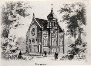 Die Synagoge in Dülken als Motiv für repräsentative Ansichtskarten der Zeit.