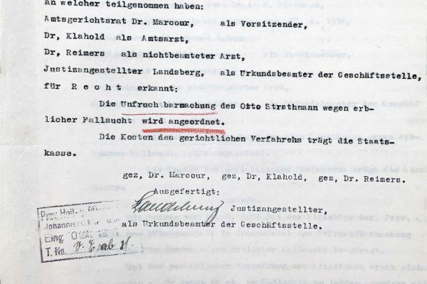 Anordnung der Sterilisation mit Unterschrift