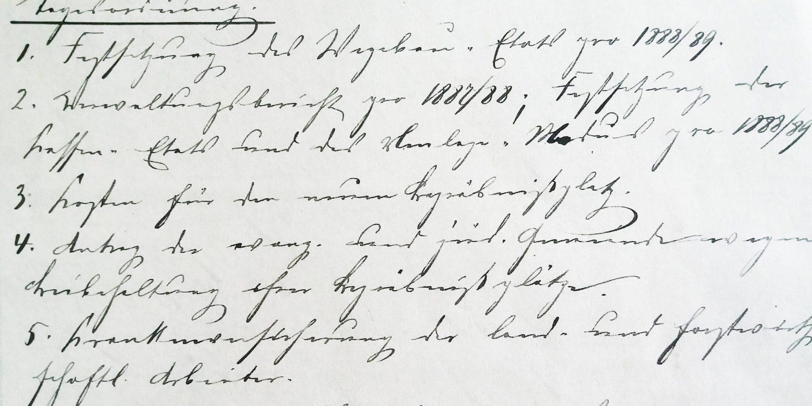 Antrag auf Beibehaltung des Standortes von 1888