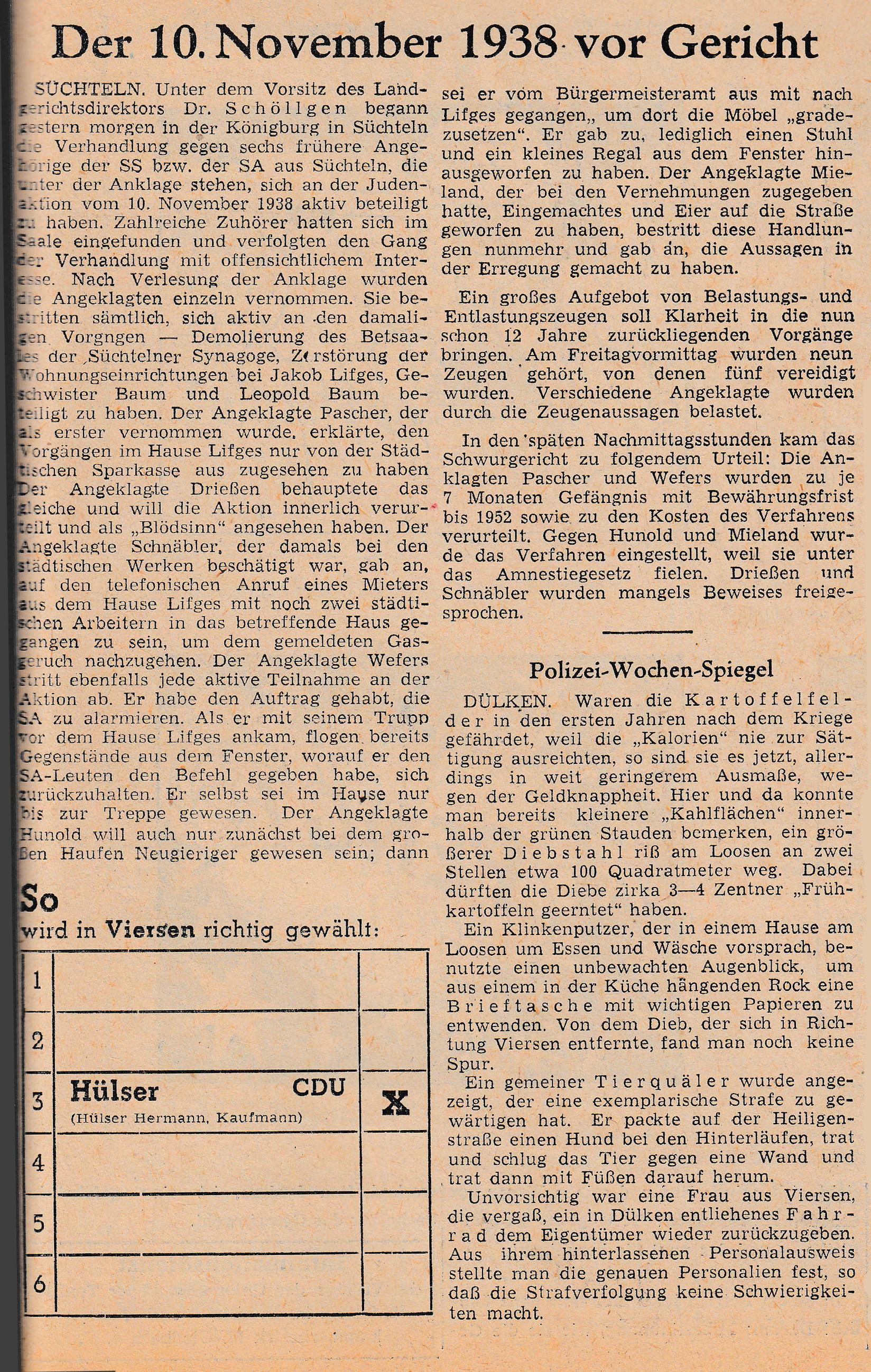 Zeitungsartikel zum Prozess in der Königsburg